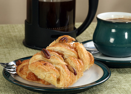 sugar maple: maple syrup and pecan danish pastry with coffee