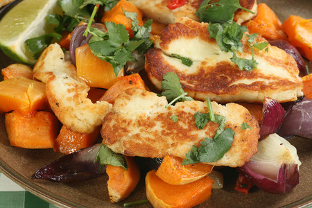 haloumi: grilled halloumi cheese with roast sweet potato and red onion