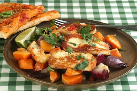 haloumi: grilled haloumi cheese wit roast onion and sweet potato