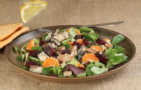 flaked smoked mackerel with beetroot and orange salad Standard-Bild - 101722683