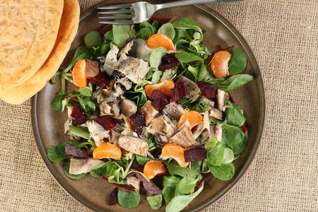 flaked smoked mackererl with beetroot  and orange salad