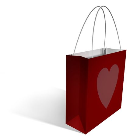 a red shopping bag with a single pink heart printed on it, with a clipping path.