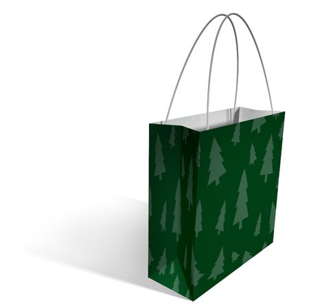 a green shopping bag with a pattern of green christmas trees printed on it, with a clipping path. Stock Photo