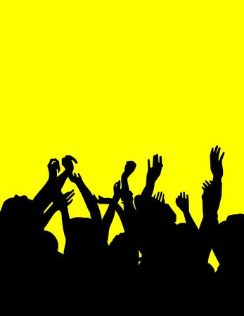 Group of people dancing in with arms raised