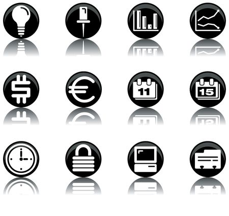 a set of businessoffice themed icons Stock Photo