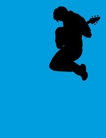 jumping guitar player - silhouette
