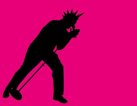 a silhouette illustration of a punk rock singer.