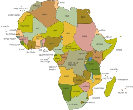 zimbabwe: a full color map of africa with country names called out