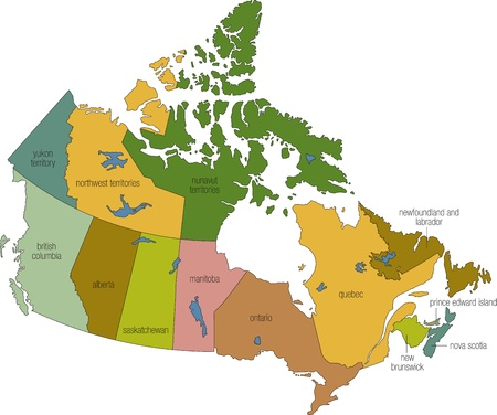 canada map: a full color map of canada with province names called out