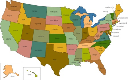 a full color map of the united states of america with the state names called out Stock Photo