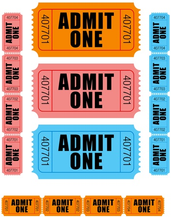 admit one: group of sequentially numbered admit one tickets in orange, pink and blue.