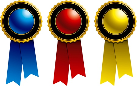 Ribbons and Awards: Blue, Red and Yellow Stock Photo - 8985579