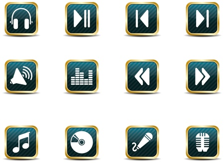 pause button: A set of musical themed icons illustrated in an App icon style.