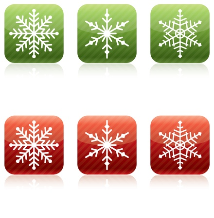 Snowflake Christmas Icons, Red and Green Stock Photo