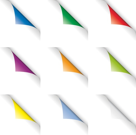 turn the corner: P�gina color espirales (vueltas de p�gina) Foto de archivo