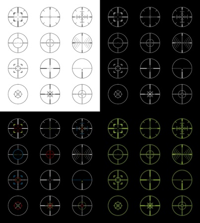 Set of 12 gun sight crosshairs in four different versions for a total of 48 different crosshairs. Positive, negative, night vision, and color versions. Stock Photo - 11811343