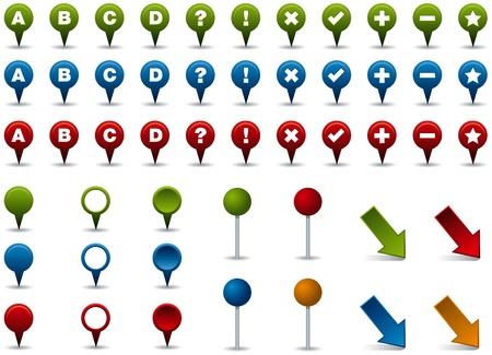 jelzÅ: Különböző színű térképet markerek, csapok és mutatók