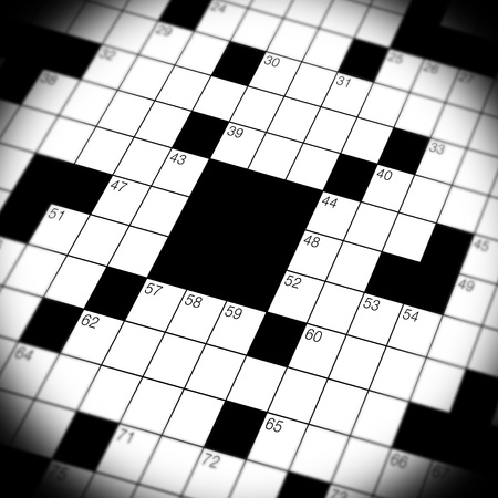 A close up, macro shot, of a crossword puzzle game
