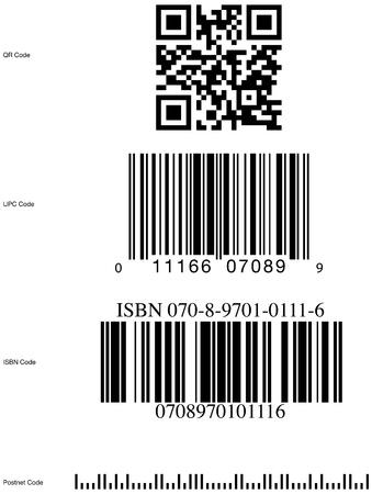 up code: Bar code styles, qr code, upc code, isbn code, postnet code.
