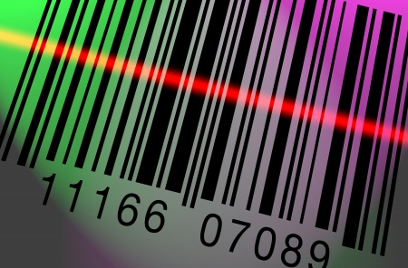 Barcode being scanned on a colorful lighted background