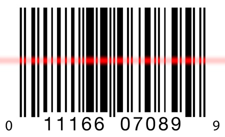Scanning a barcode on a white background with a red laser scanner Stock Photo