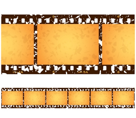 Six (6) numbered frames of a repeating antique grunge filmstrip.