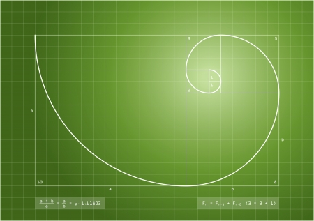 nombre d or: La séquence de Fibonacci (également connu sous le nom Golden Spiral) avec des formules de base pour chacun. Banque d'images