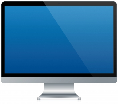 blank screen: A modern aluminum computer isolated on white with a reflection Stock Photo