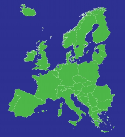 A map of Europe EU with country borders