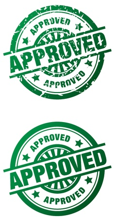 Rubber stamp style illustrations of the word Approved done in a clean and grunge style Stock Photo