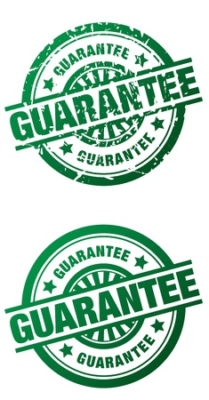 Rubber stamp style illustrations of the word Guarantee done in a clean and grunge style
