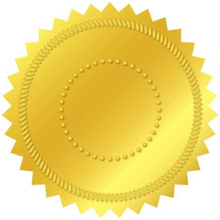 Blank gold seal, with embossed decorations Stock Photo