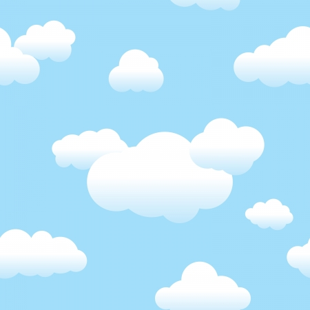 Seamless repeating clouds and blue sky background pattern
