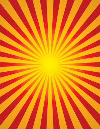 Bright yellow and red radial sun burst (start burst)