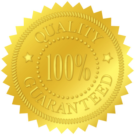 Quality guaranteed gold seal, with embossed decorations Stock Photo