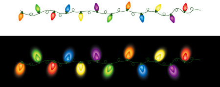 Series of colored holiday (Christmas) lights in a seamless repeating pattern