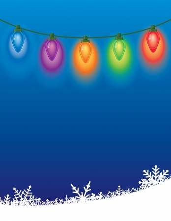 Colored Christmas lights, with a blue background and snow drift background