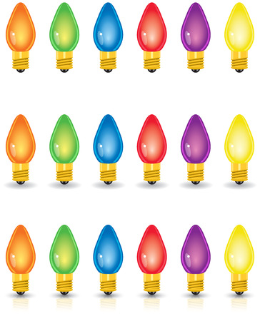 Individual colored Christmas lights, isolated, with shadow and with shadow and reflection