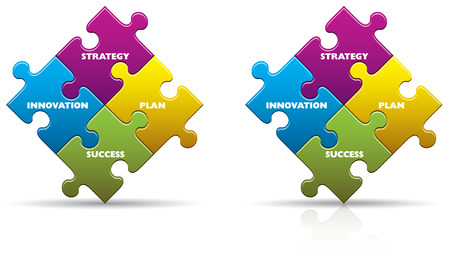 Colored business innovation puzzle pieces with a shadow and reflection