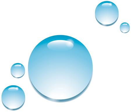 Blue water drops on a white background (H2O drips) Zdjęcie Seryjne