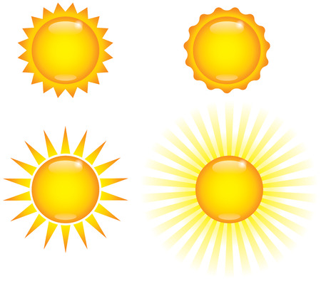 Four shiny sun images, weather icon graphics