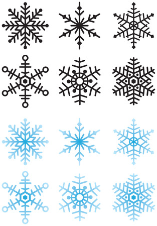 Six snowflakes, colored and solid black for use as a mask or in video. Stock Photo