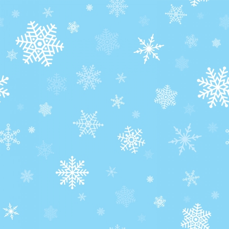 Seamless, repeating pattern of white snowflakes on a blue background