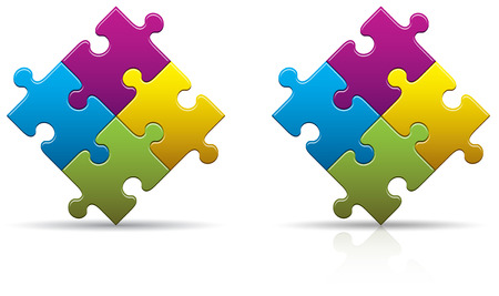 Four colored puzzle pieces with a shadow and reflection