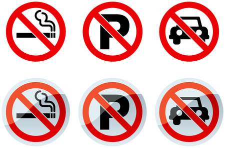 No Smoking and No Parking Signs and Icons