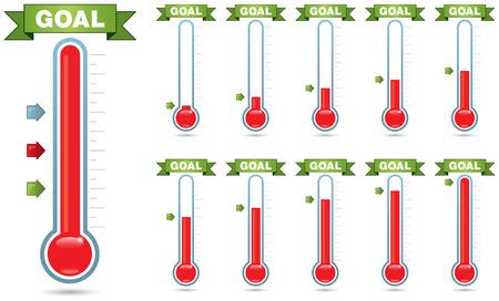 Aanpasbare doel thermometer met meerdere niveaus van vulling en meerdere pijl stijlen Stockfoto