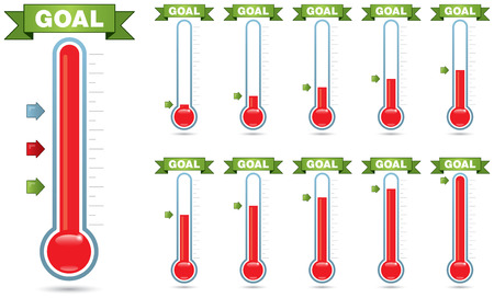 fundraiser: Customizable goal thermometer with multiple levels of fill and multiple arrow styles Stock Photo