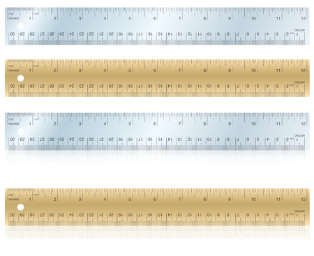 Metal and wood rulers, flat and with reflection