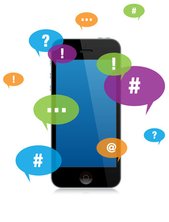 Smartphone Chat Messaging with Color Talk Bubbles Stock Photo