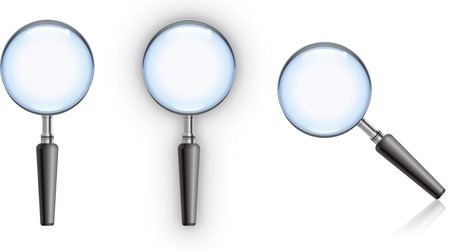 Magnifying glass with blue glass, edge highlight and reflection.